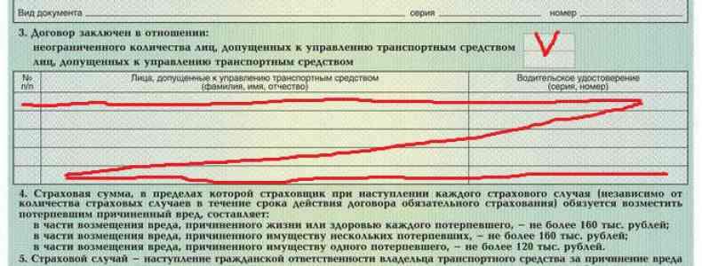 заполнение бланка автогражданки с условием отсутствия ограничений по числу водителей