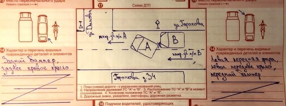Оформляем схему при ДТП